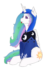 Size: 3000x4000   Tagged: safe, artist:donnik, princess celestia, alicorn, pony, clothes, hoodie, mlem, silly, sitting, solo, tongue out