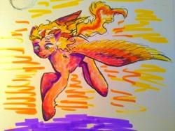 Size: 4096x3072   Tagged: safe, artist:summrthundr, oc, oc:sunrise vision, pegasus, pony, blonde, drawing, female, flying, green eyes, mare, marker drawing, pegasus oc, solo, traditional art