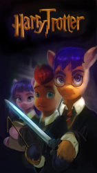 Size: 708x1258   Tagged: safe, edit, edited screencap, editor:xbi, screencap, twilight sparkle, earth pony, pony, g5, my little pony: a new generation, bipedal, book, clothes, glasses, harry potter, harry trotter, hermione granger, looking at you, magic wand, movie poster, necktie, ponified, ron weasley, sword, that pony sure does love books, weapon