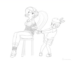 Size: 1180x975 | Tagged: safe, artist:carnifex, rarity, spike, equestria girls, arm behind back, bondage, equestria girls-ified, grin, human spike, monochrome, open mouth, open smile, playing, smiling, tied to chair