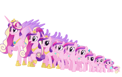 Size: 872x546   Tagged: safe, artist:soft_angel, princess cadance, alicorn, pegasus, pony, age progression, baby, baby pony, crown, crystal heart, diaper, evolution, female, filly, hoof shoes, jewelry, mare, raised hoof, regalia, simple background, smiling, teenager, transparent background, ultimate cadance