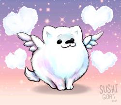 Size: 1599x1395 | Tagged: safe, artist:bamboogecko, cloudpuff, dog, flying pomeranian, pomeranian, g5, cloud, heart, heart cloud, solo, winged dog