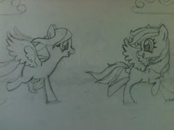 Size: 960x720 | Tagged: safe, artist:zombietator, oc, oc only, pegasus, pony, duo, female, lineart, looking back, mare, pegasus oc, traditional art, wings