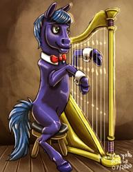 Size: 1024x1326 | Tagged: safe, artist:amalgamzaku, parish nandermane, pony, harp, hoers, musical instrument, solo