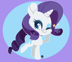Size: 1280x1099 | Tagged: safe, artist:happyfoxxart, rarity, pony, unicorn, chibi, cute, female, mare, one eye closed, raribetes, smiling, solo, wink