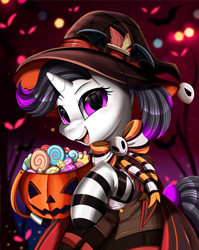 Size: 2550x3209 | Tagged: safe, alternate character, alternate version, artist:pridark, oc, oc only, oc:hazel radiate, pony, unicorn, bow, candy, clothes, commission, commissioner:biohazard, costume, eyebrows, eyelashes, female, food, halloween, halloween costume, hat, high res, highlights, holiday, horn, open mouth, open smile, ponytail, pumpkin bucket, purple eyes, smiling, socks, solo, striped socks, tail, tail bow, teeth, unicorn oc, witch hat, ych result