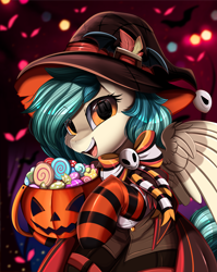 Size: 2550x3209 | Tagged: safe, artist:pridark, oc, oc only, oc:peacher, pegasus, pony, bow, candy, clothes, commission, costume, female, food, green mane, halloween, halloween 2021, halloween costume, hat, holiday, orange eyes, pegasus oc, pumpkin, pumpkin bucket, socks, solo, striped socks, witch hat, ych result