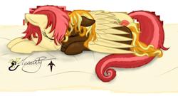 Size: 1782x961   Tagged: safe, artist:smilodonkahn, oc, oc only, oc:primrose, oc:sweet drop, earth pony, pegasus, blanket, cuddling, female, hug, winghug, wings