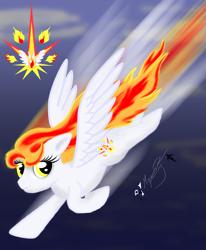 Size: 855x1036   Tagged: safe, artist:smilodonkahn, oc, oc only, oc:falling star, pegasus, pony, female, flying, solo
