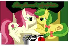 Size: 780x500   Tagged: safe, artist:smilodonkahn, apple fritter, roseluck, earth pony, pony, apple family member, female, lesbian, rosefritter, shipping, simple background, transparent background