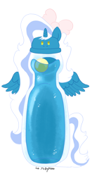Size: 960x1838 | Tagged: safe, artist:lib-fluffymoss, oc, oc:fleurbelle, alicorn, alicorn oc, bottle, bow, female, hair bow, horn, mare, ramune, simple background, transparent background, wings