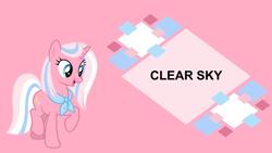 Size: 4400x2475 | Tagged: safe, artist:luckreza8, editor:quoterific, clear sky, pony, unicorn, blue eyes, board, female, high res, horn, mare, open mouth, open smile, pink background, raised hoof, raised leg, simple background, smiling, solo, standing on two hooves, text, wallpaper
