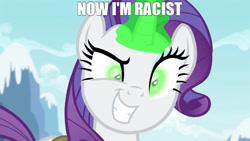 Size: 1280x720 | Tagged: safe, rarity, pony, unicorn, g4, inspiration manifestation, deranged, evil grin, green eyes, grin, racism, racisty, shitposting, smiling, transformation
