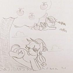 Size: 640x640 | Tagged: safe, artist:snowzaaah, applejack, rainbow dash, earth pony, pegasus, pony, appledash, appledashdailydoodles, doodle, female, lesbian, monochrome, pencil drawing, shipping, sketch, traditional art