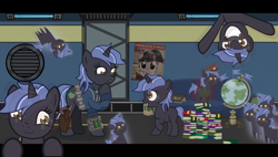 Size: 4242x2401 | Tagged: safe, artist:devorierdeos, oc, oc only, oc:heavy rain, pony, fallout equestria, 10mm pistol, breaking the fourth wall, chibi, clone, clothes, dictator, female, globe, gun, mare, military uniform, stable, stable-tec, uniform, vault suit, wallpaper, weapon
