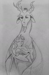 Size: 937x1416 | Tagged: safe, artist:miatsukyyy, discord, twilight sparkle, alicorn, pony, monochrome, sleeping, traditional art, twilight sparkle (alicorn)
