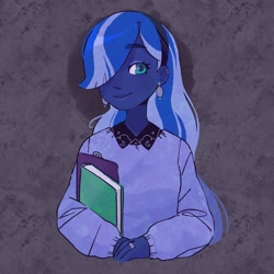 Size: 2048x2048 | Tagged: safe, artist:vanillavache, princess luna, vice principal luna, equestria girls, abstract background, book, clipboard, clothes, ear piercing, earring, female, hair over one eye, hairband, jewelry, piercing, redesign, ring, solo, sweater
