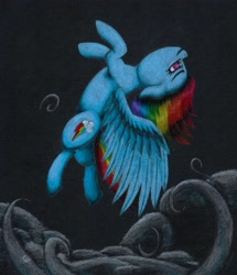 Size: 3312x3849 | Tagged: safe, artist:myzanil, rainbow dash, pegasus, pony, backflip, cloud, colored pencil drawing, flying, looking forward, smiling, solo, traditional art, wings