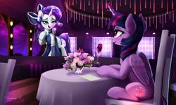 Size: 2500x1500 | Tagged: safe, artist:darksly, rarity, twilight sparkle, alicorn, pony, unicorn