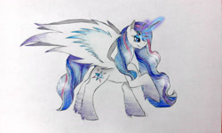Size: 2560x1536 | Tagged: safe, artist:wixi2000, rarity, twilight sparkle, alicorn, pony, female, four eyes, fusion, glowing, glowing horn, horn, mare, multiple horns, raised hoof, simple background, smiling, solo, spread wings, traditional art, tricorn, twilight sparkle (alicorn), unshorn fetlocks, white background, wings