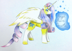 Size: 2095x1493 | Tagged: safe, artist:wixi2000, fluttershy, rarity, alicorn, pony, female, four eyes, fusion, mare, simple background, smiling, solo, spread wings, traditional art, white background, wings