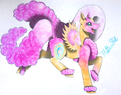 Size: 1967x1536   Tagged: safe, artist:wixi2000, fluttershy, pinkie pie, pegasus, pony, chest fluff, female, fluff, fluffy, fluffy mane, fluffy tail, four ears, mare, open mouth, open smile, prancing, simple background, smiling, solo, spread wings, tail, traditional art, unshorn fetlocks, white background, wings