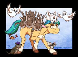 Size: 1466x1072   Tagged: safe, artist:inuhoshi-to-darkpen, cloudpuff, hitch trailblazer, armadillo, bird, crab, dog, earth pony, mouse, pomeranian, pony, rabbit, g5, my little pony: a new generation, spoiler:my little pony: a new generation, animal, chest fluff, critter magnet, critters, cute, ear fluff, floppy ears, hitchbetes, male, sheriff, stallion, unshorn fetlocks