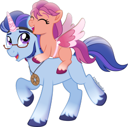 Size: 3514x3500   Tagged: safe, artist:limedazzle, argyle starshine, sunny starscout, earth pony, pony, g5, my little pony: a new generation, spoiler:my little pony: a new generation, coat markings, colored eyebrows, duo, eyes closed, fake horn, fake wings, father and child, father and daughter, female, filly, filly sunny starscout, g5 to g4, glasses, jewelry, male, necklace, open mouth, playing, simple background, smiling, socks (coat markings), stallion, transparent background, unshorn fetlocks