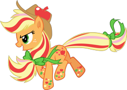 Size: 4999x3512   Tagged: safe, artist:frownfactory, applejack, twilight's kingdom, alternate hairstyle, bow, hat, rainbow power, simple background, solo, transparent background, vector