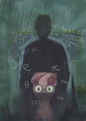 Size: 1240x1754   Tagged: safe, anonymous artist, cheerilee, oc, oc:anon, human, pony, apple, chalkboard, classroom, creepy, fancy mathematics, food, kinderquestria, lovecraft, math, ponybooru import, thousand yard stare