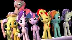 Size: 1228x691   Tagged: safe, artist:speckyspark, applejack, fluttershy, pinkie pie, rainbow dash, rarity, spike, starlight glimmer, sunset shimmer, twilight sparkle, alicorn, earth pony, pegasus, pony, unicorn, 3d, black background, female, grin, mane seven, mane six, mare, one eye closed, open mouth, open smile, simple background, smiling, source filmmaker, twilight sparkle (alicorn), wink
