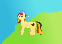 Size: 1200x849   Tagged: safe, artist:sunamena, oc, oc only, oc:chocolate sweets, earth pony, pony, hat, multicolored hair, multicolored mane, multicolored tail, red eyes, simple background, soda can, solo, standing, tail, yellow coat