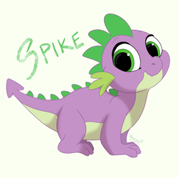 Size: 2000x2000 | Tagged: safe, artist:tayarinne, spike, dragon, cute, cute little fangs, fangs, looking at you, male, quadrupedal, simple background, smiling, solo, spikabetes, white background