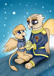 Size: 2480x3507 | Tagged: safe, artist:truffle shine, oc, oc only, oc:grover v, oc:grover vi, griffon, equestria at war mod, iron cross, snow, snowfall, solo