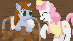 Size: 1920x1080 | Tagged: safe, artist:toshimatsu, derpibooru exclusive, oc, oc only, oc:candi, oc:littlepip, earth pony, pony, unicorn, fallout equestria, bed, blanket, earth pony oc, eyes closed, fanfic, fanfic art, female, females only, hat, hooves, horn, laughing, mane, nurse, nurse hat, nurse outfit, open mouth, pillow, raised hoof, tail, unicorn oc