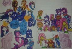 Size: 750x515 | Tagged: safe, artist:karadeg, applejack, fluttershy, pinkie pie, princess celestia, princess luna, rainbow dash, rarity, sci-twi, starlight glimmer, sunset shimmer, trixie, twilight sparkle, alicorn, unicorn, equestria girls, friendship is magic, idw, legends of magic, spoiler:comic, comic, mane seven, mane six, the fall of sunset shimmer, young celestia, young luna