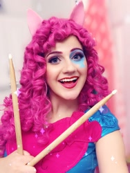 Size: 1838x2448 | Tagged: safe, artist:sarahndipity cosplay, pinkie pie, human, equestria girls, rainbow rocks, clothes, cosplay, costume, drumsticks, irl, irl human, open mouth, open smile, photo, smiling