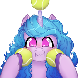 Size: 1060x1060 | Tagged: artist needed, safe, izzy moonbow, pony, unicorn, g5, /mlp/, ball, cute, drawthread, female, horn, horn guard, hornball, izzy's tennis ball, izzybetes, looking at you, mare, simple background, solo, tennis ball, that pony sure does love tennis balls, transparent background