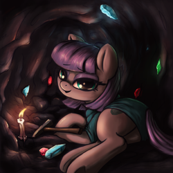 Size: 3000x3000 | Tagged: safe, artist:t72b, maud pie, earth pony, pony, boulder buns, candle, cave, clothes, cute, dress, female, glowing, jewel, looking at you, lying down, mare, mine, prone, rock hammer, rock horse, smiling, solo, stone, when she smiles