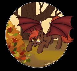 Size: 1280x1170 | Tagged: safe, artist:zackwhitefang, oc, oc only, oc:zack whitefang, bat pony, autumn, bat pony oc, bat wings, digital art, face down ass up, leaf, male, solo, spread wings, tail, tree, wiggle, wings