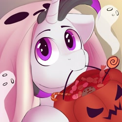 Size: 3512x3512 | Tagged: safe, artist:knochka, oc, oc only, oc:haze rad, ghost, pony, undead, unicorn, candy, clothes, commission, commissioner:biohazard, costume, cute, eye shimmer, eyebrows, floppy ears, food, ghost costume, halloween, halloween costume, high res, highlights, holiday, horn, looking at you, male, mouth hold, pumpkin bucket, purple eyes, solo, stallion, trick or treat, unicorn oc, wingding eyes, ych result