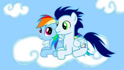 Size: 1280x720   Tagged: safe, artist:mlplary6, rainbow dash, soarin', cloud, female, male, shipping, soarindash, straight