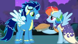 Size: 1280x720   Tagged: safe, artist:mlplary6, rainbow dash, soarin', clothes, dress, female, food, male, pie, shipping, soarindash, straight, that pony sure does love pies, uniform, wonderbolts uniform