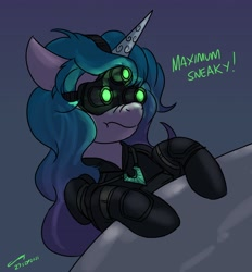 Size: 2826x3039   Tagged: safe, artist:buckweiser, izzy moonbow, pony, unicorn, g5, female, goggles, horn, mare, night vision goggles, sam fisher, sneaky, solo, splinter cell