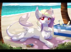 Size: 2700x1972 | Tagged: safe, artist:_ladybanshee_, oc, oc only, oc:rainy skies, original species, pony, shark, shark pony, beach, chest fluff, commission, ear fluff, outdoors, relaxing, solo, sunbathing