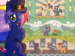 Size: 800x600 | Tagged: safe, artist:rangelost, oc, oc only, oc:moonflower, bat pony, cyoa:d20 pony, bat pony oc, cyoa, hat, looking at you, offscreen character, pixel art, solo, story included