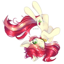 Size: 2000x2000 | Tagged: safe, artist:shelti, roseluck, earth pony, pony, behaving like a cat, collar, commission, commissioner:doom9454, cute, eye clipping through hair, looking at you, lying down, on back, pet tag, pony pet, rosepet, solo, tongue out