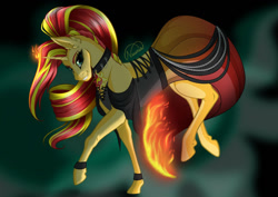 Size: 1024x725 | Tagged: safe, artist:nuumia, sunset shimmer, pony, unicorn, clothes, collar, dress, ear fluff, female, fiery shimmer, fire, grin, mare, smiling, solo