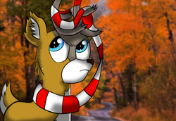 Size: 1100x758 | Tagged: safe, artist:tranzmuteproductions, oc, oc only, oc:tyandaga, deer, antlers, bust, clothes, ear fluff, frown, male, outdoors, scarf, solo, tree