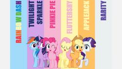 Size: 1280x720 | Tagged: safe, artist:tomfraggle, edit, editor:quoterific, applejack, fluttershy, pinkie pie, rainbow dash, rarity, twilight sparkle, alicorn, earth pony, pegasus, pony, unicorn, g4, applejack's hat, cowboy hat, eyes closed, female, hat, mane six, mare, one eye closed, open mouth, twilight sparkle (alicorn), vector, wink